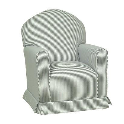 Little Castle Custom Upholstered Lullaby Glider Rocker - Blue Stripes