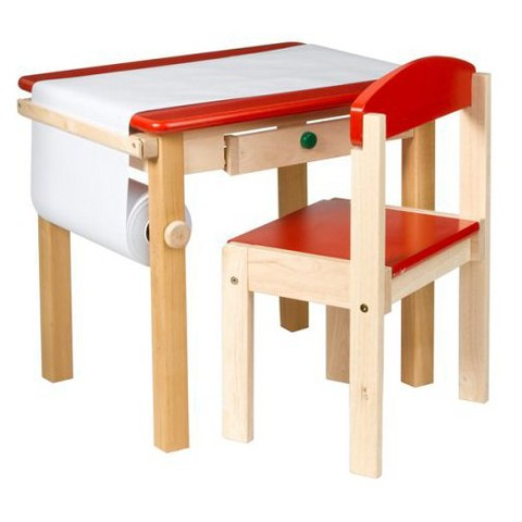 Guidecraft Art Table and Chair Set - Red/Natural