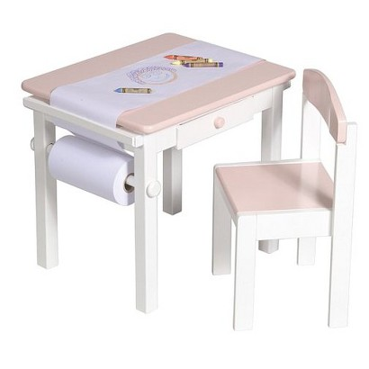 Guidecraft Art Table and Chair Set - Pink/White
