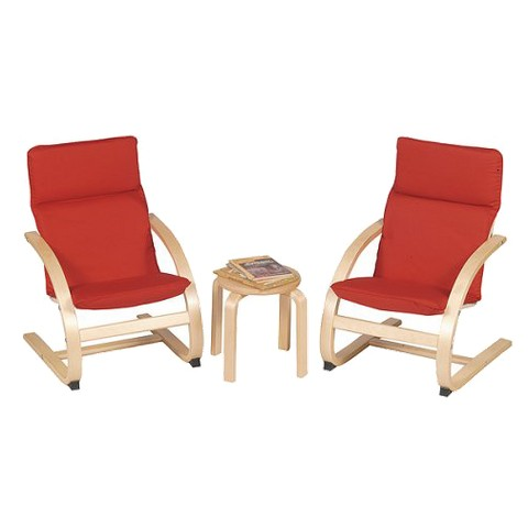Guidecraft Kiddie Table and 2-Chair Set - Red/Natural
