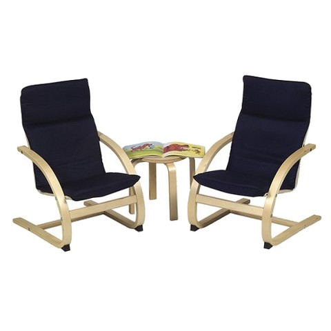 Guidecraft Kiddie Table and 2-Chair Set - Navy Blue/Natural