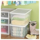 Sterilite® ClearView Latch™ Storage Tote Set of 4 - Transparent with White Lid 66Qt.