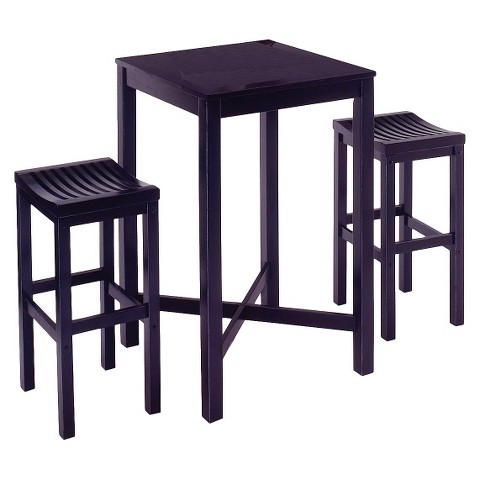 3 Piece Bar Table with 2 Stools Wood/Black - Home Styles