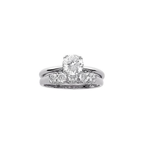 Sterling Silver and Cubic Zirconia 2-Pc. Wedding Ring Set