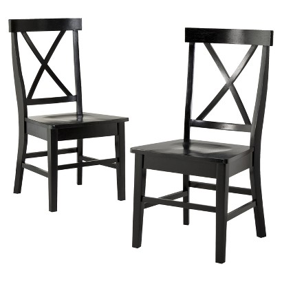 2 Pc American Simplicity X-Back Side Chair - Black