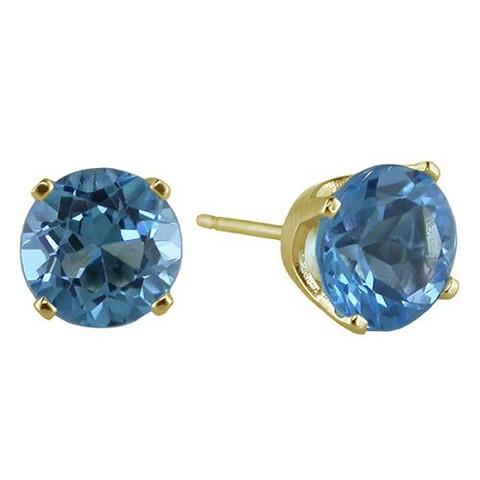 Round Blue Topaz Stud Earrings in 14K Yellow Gold