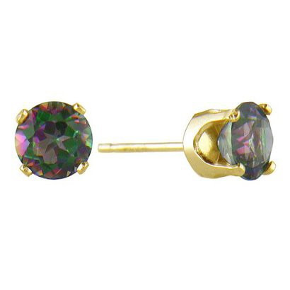 Round Mystic Topaz Stud Earrings in 14K Yellow Gold