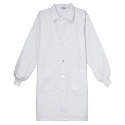 Medline  White Unisex Staff Length Lab Coat with Knit Cuff Sleeves