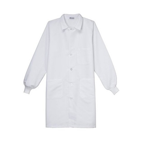 Medline Unisex Staff Length Lab Coat with Knit Cuff Sleeves - White