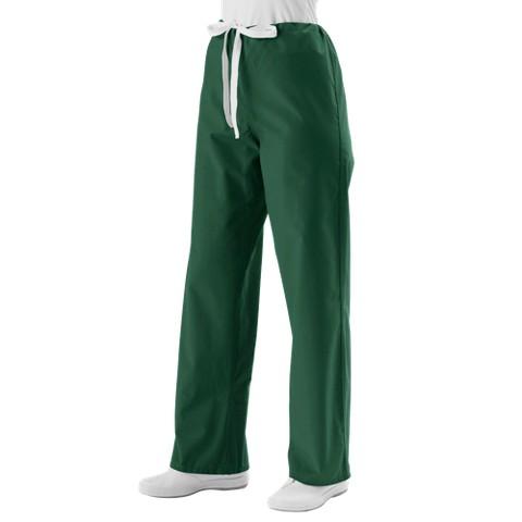 Medline Unisex Reversible Scrub Pants with Drawstring - Hunter Green