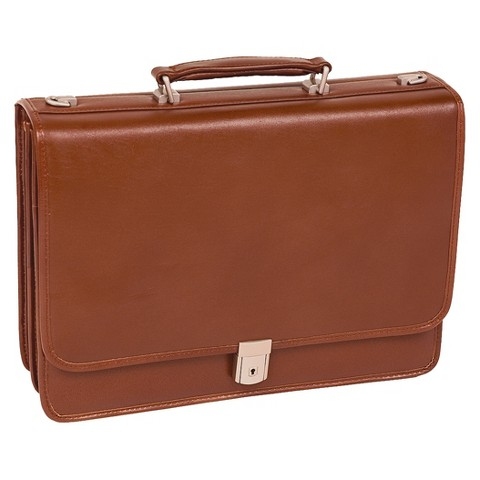 Leather Double-Compartment Briefcase – Brown