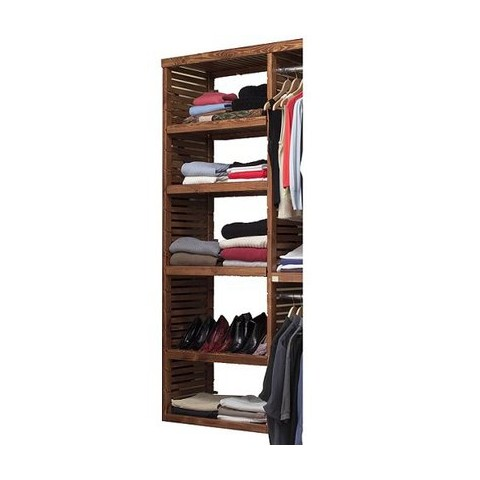 John Louis Home Deluxe Adjustable Tower Shelves Kit - Red Mahogany