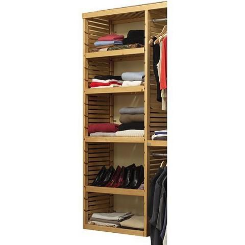 John Louis Home Deluxe Adjustable Tower Shelves Kit - Honey Maple