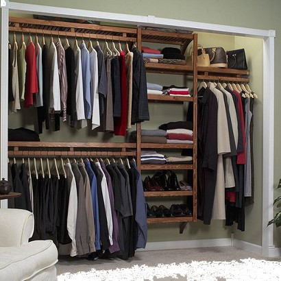 """John Louis Home Standard Shelving System for 6-10' Closets - Red Mahogany (12D"""")"""