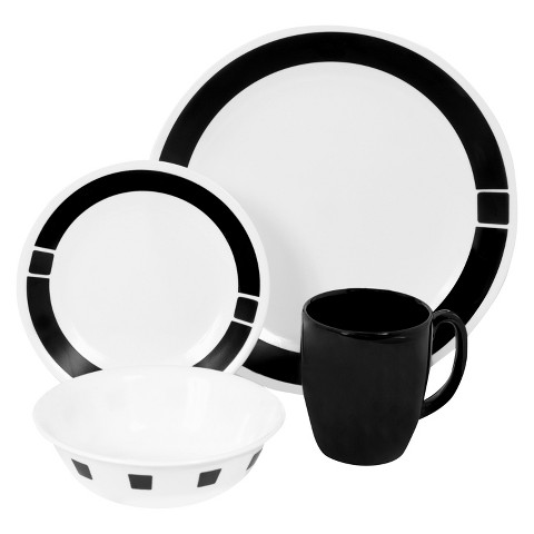 Corelle Livingware 16 Piece Dinnerware Set - Urban Black