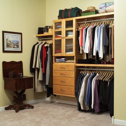 louis home deluxe closet system honey maple target