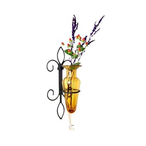 """Fleur-de-Lis Sconce Vase - Amber 16"""""""