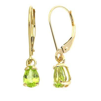 6x9mm Pear-Shape Peridot Lever-back Earrings in 14K Yellow Gold