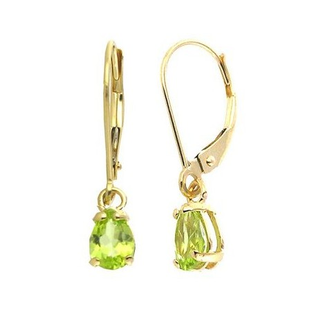 6x9mm Pear-Shape Peridot Lever-back Earrings in 14K Yellow Gold