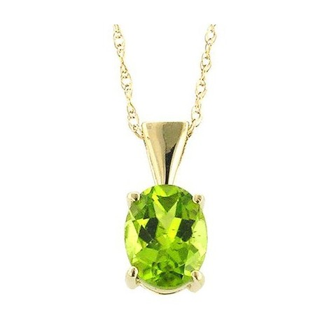 Oval Cut Peridot Necklace in 14K Yellow Gold (9mm)