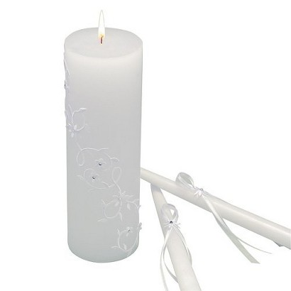Sparkling Entwined Unity Candle Set - White