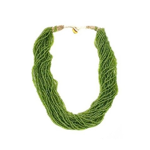 Sterling Silver Twisted Seed Bead Necklace - Green