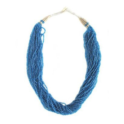 Sterling Silver Twisted Seed Bead Necklace - Blue