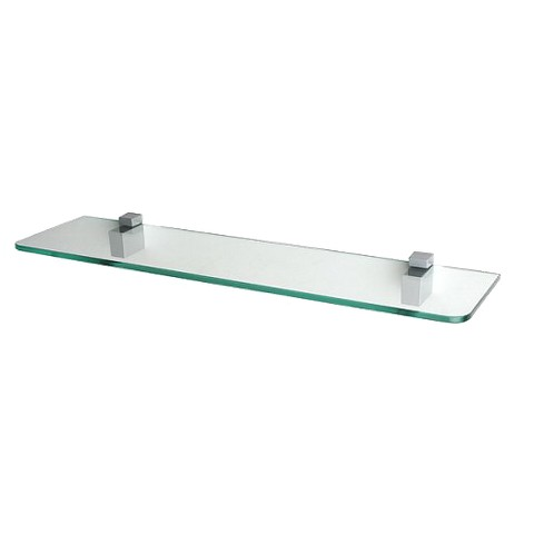Clear Glass Shelf with Square Brackets - 24""