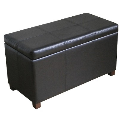 DOUBLE STORAGE OTTOMAN BENCH - BLACK