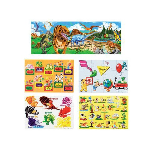 Melissa & Doug® Land of Dinosaurs and Beginning Skills 48-pc. Heavy-Duty Cardboard Floor Puzzle Bundle