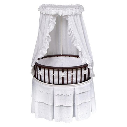 Badger Basket Cherry Elite Oval Bassinet with Bedding - White Eyelet