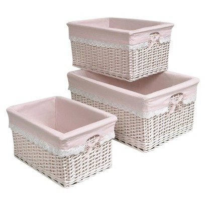 3-pc. Basket Set with Pink Liners