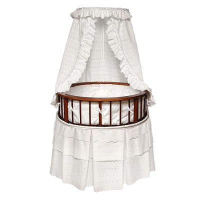 Badger Basket Cherry Elegance Round Bassinet with Bedding - White Eyelet