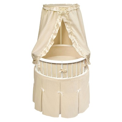 Badger Basket White Elegance Round Bassinet with Bedding