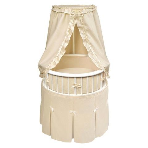 Badger Basket White Elegance Round Bassinet with Bedding - Ecru