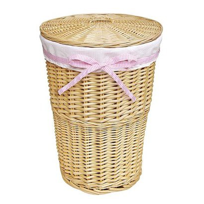Round Wicker Hamper - Natural/ White