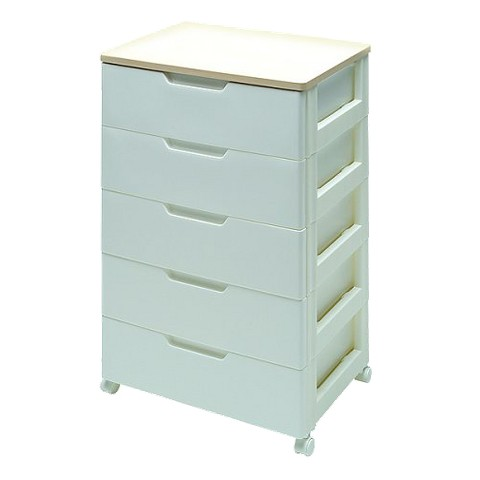 IRIS 5-Drawer Chest with Natural-Finish Top