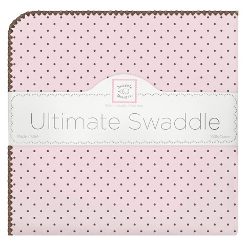 Swaddle Designs Ultimate Receiving Blanket - Pink/ Brown Polka-Dots