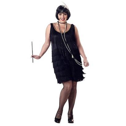 Women's Flapper Fashion Costume - Black (Plus Size)