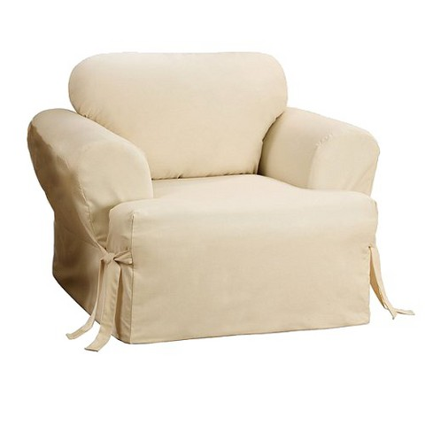 Sure Fit Cotton Duck T-cushion Chair Slipcover