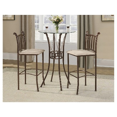 3 Piece Italian Bistro Set Metal/Rustic Coffee