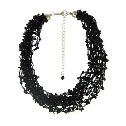 Sterling Silver Bead Multi-Strand Necklace - Black 18""