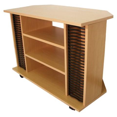 Contemporary Corner TV Stand Cart - Beech