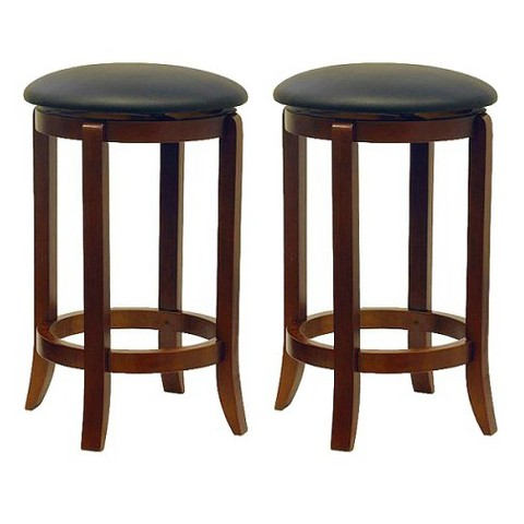 Carlson Swivel Barstools Hardwood/Walnut (Set of 2) - Winsome