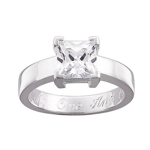 Sterling Silver Cubic Zirconia Personalized Square Engraved Engagement Ring