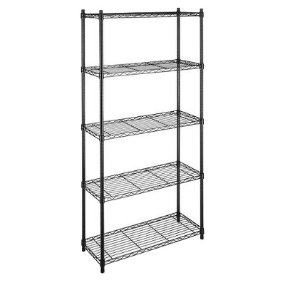 Whitmor Supreme 5-Tier Wire Shelving Unit - Black