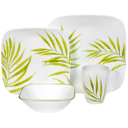 Corelle 16 Piece Square Dinnerware Set - Bamboo Leaf