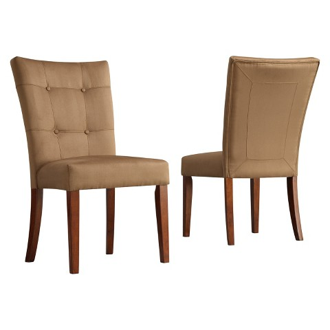 Alexandra Tufted Side Chair Wood Peat Set of 2 Tar