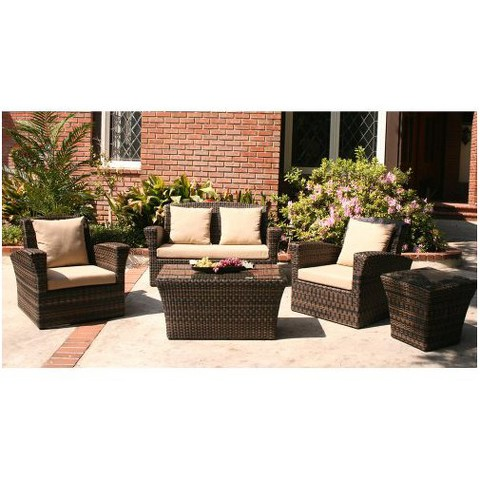 Maui 5 Piece Patio Conversation Furniture Set Tar
