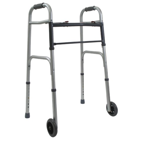Mabis Healthcare Aluminum Folding Walker - Silver and Gray